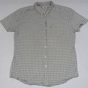 ⬇️$14 Levi's shortsleeve plaid shirt men M